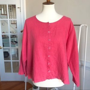 Flax linen pink button down